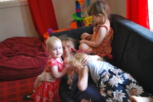 Pile on mummy!